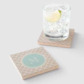 Gray Quatrefoil Pattern, Blue Monogram Stone Coaster