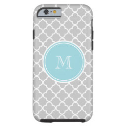 Gray Quatrefoil Pattern, Blue Monogram Tough iPhone 6 Case
