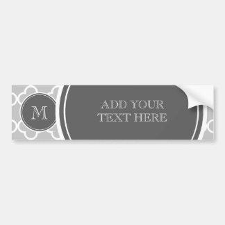 Gray Quatrefoil Pattern, Charcoal Monogram Bumper Sticker