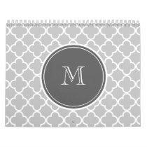 Gray Quatrefoil Pattern, Charcoal Monogram Calendar