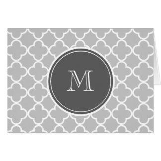 Gray Quatrefoil Pattern, Charcoal Monogram Card