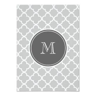 "Gray Quatrefoil Pattern, Charcoal Monogram 4.5"" X 6.25"" Invitation Card"