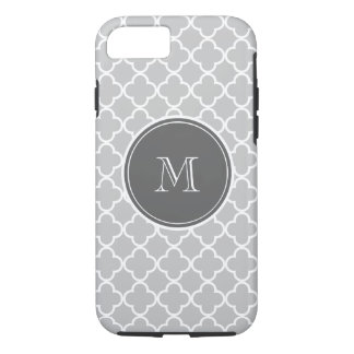 Gray Quatrefoil Pattern, Charcoal Monogram iPhone 8/7 Case