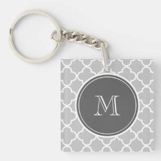 Gray Quatrefoil Pattern, Charcoal Monogram Keychain