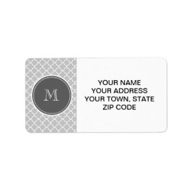 Gray Quatrefoil Pattern, Charcoal Monogram Personalized Address Labels