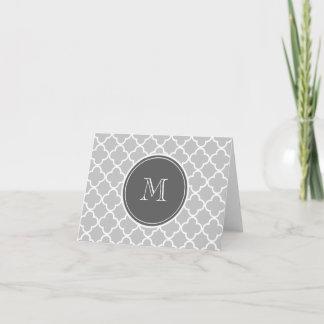 Gray Quatrefoil Pattern, Charcoal Monogram Note Card