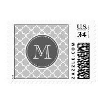 Gray Quatrefoil Pattern, Charcoal Monogram Postage