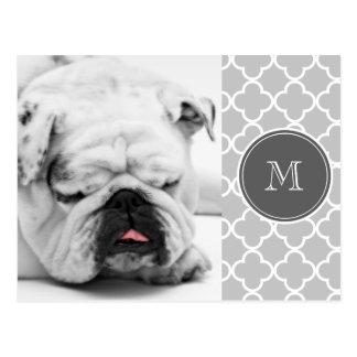 Gray Quatrefoil Pattern, Charcoal Monogram Postcard