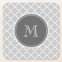 Gray Quatrefoil Pattern, Charcoal Monogram Square Paper Coaster