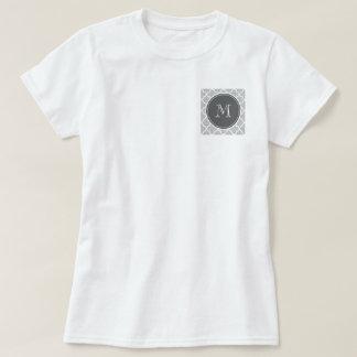 Gray Quatrefoil Pattern, Charcoal Monogram T-Shirt