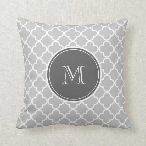 Throw Pillows For Charcoal Couch : Gray Quatrefoil Pattern, Charcoal Monogram Throw Pillow Zazzle