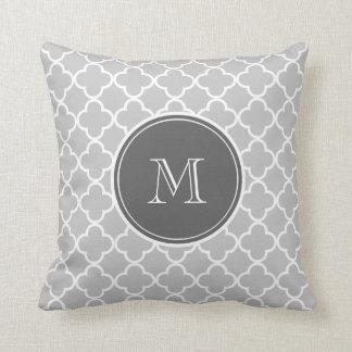 Gray Quatrefoil Pattern, Charcoal Monogram Throw Pillow