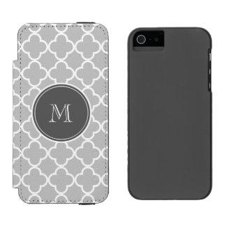 Gray Quatrefoil Pattern, Charcoal Monogram Wallet Case For iPhone SE/5/5s