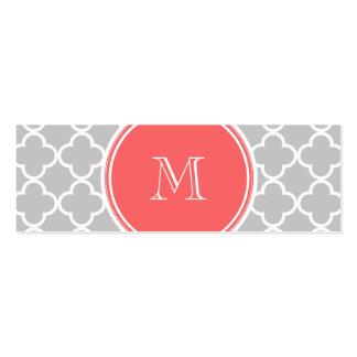 Gray Quatrefoil Pattern, Coral Monogram Business Cards