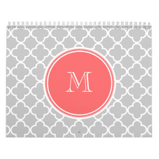 Gray Quatrefoil Pattern, Coral Monogram Wall Calendar