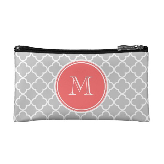 Gray Quatrefoil Pattern, Coral Monogram Cosmetic Bag
