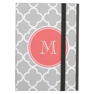 Gray Quatrefoil Pattern Coral Monogram iPad Air Cases