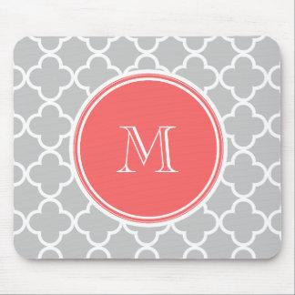 Gray Quatrefoil Pattern, Coral Monogram Mouse Pad