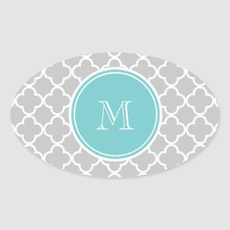 Gray Quatrefoil Pattern, Coral Monogram Oval Sticker