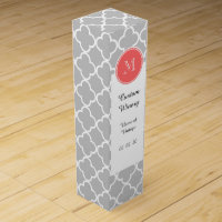 Gray Quatrefoil Pattern, Coral Monogram Wine Box