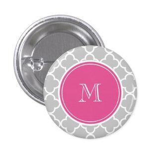 Gray Quatrefoil Pattern, Hot Pink Monogram Pinback Buttons