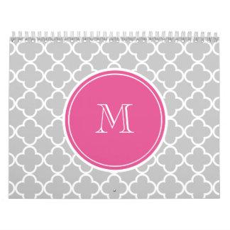Gray Quatrefoil Pattern, Hot Pink Monogram Calendars