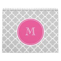 Gray Quatrefoil Pattern, Hot Pink Monogram Calendar