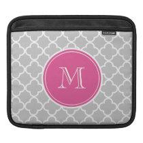 Gray Quatrefoil Pattern, Hot Pink Monogram iPad Sleeve