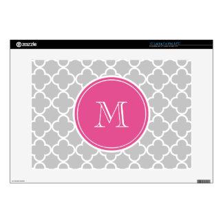 Gray Quatrefoil Pattern, Hot Pink Monogram Laptop Decal