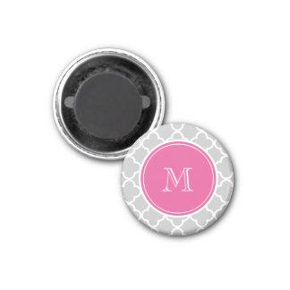 Gray Quatrefoil Pattern, Hot Pink Monogram Fridge Magnets