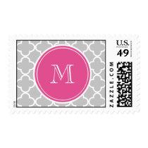 Gray Quatrefoil Pattern, Hot Pink Monogram Postage