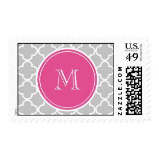 Gray Quatrefoil Pattern, Hot Pink Monogram Postage Stamp