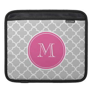 Gray Quatrefoil Pattern, Hot Pink Monogram Sleeve For iPads