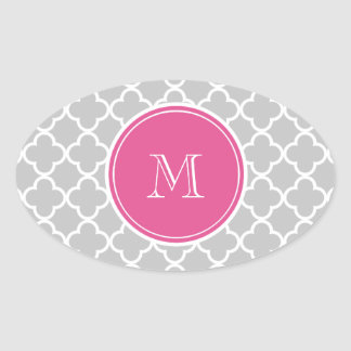 Gray Quatrefoil Pattern, Hot Pink Monogram Oval Sticker