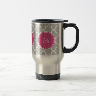 Gray Quatrefoil Pattern, Hot Pink Monogram Travel Mug