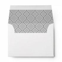 Gray Quatrefoil Pattern Lined Envelope