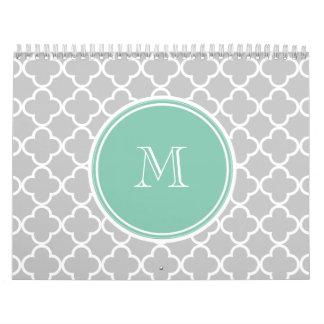 Gray Quatrefoil Pattern, Mint Green Monogram Wall Calendar