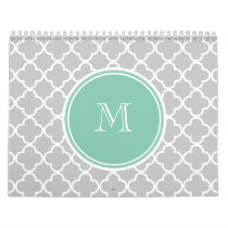 Gray Quatrefoil Pattern, Mint Green Monogram Calendar