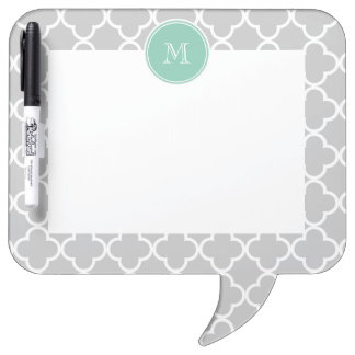 Gray Quatrefoil Pattern, Mint Green Monogram Dry-Erase Board