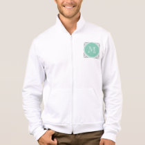 Gray Quatrefoil Pattern, Mint Green Monogram Jacket