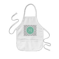Gray Quatrefoil Pattern, Mint Green Monogram Kids' Apron