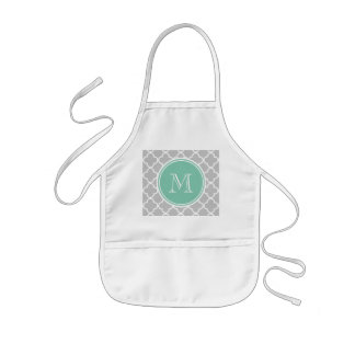 Gray Quatrefoil Pattern, Mint Green Monogram Kids' Apron