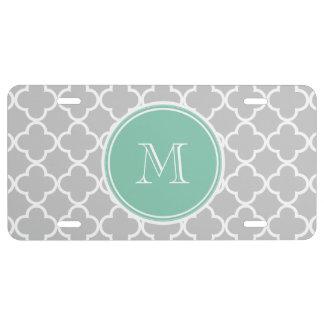 Gray Quatrefoil Pattern, Mint Green Monogram License Plate