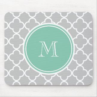 Gray Quatrefoil Pattern, Mint Green Monogram Mouse Pad
