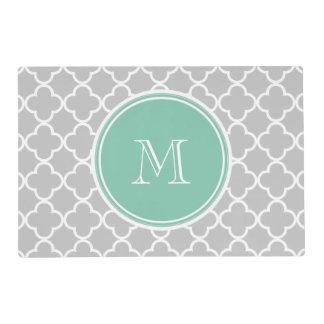 Gray Quatrefoil Pattern, Mint Green Monogram Laminated Placemat