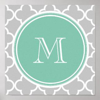Gray Quatrefoil Pattern, Mint Green Monogram Poster