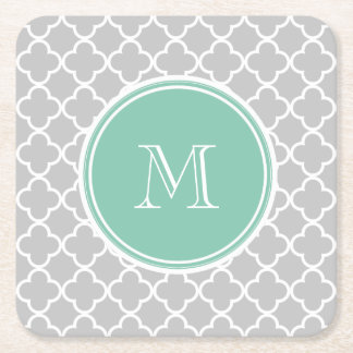 Gray Quatrefoil Pattern, Mint Green Monogram Square Paper Coaster