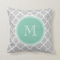 Gray Quatrefoil Pattern, Mint Green Monogram Throw Pillow