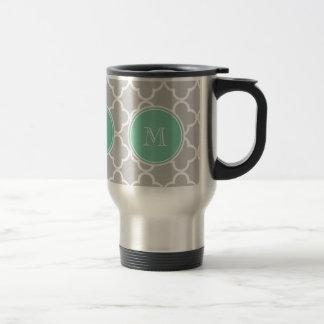 Gray Quatrefoil Pattern, Mint Green Monogram Travel Mug
