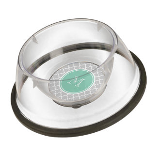 Gray Quatrefoil Pattern, Mint Green Monogram Pet Bowl